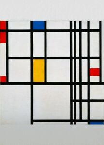 red and yellow PIET MONDRIAN De Stijl Neoplasticism Poster Composition in blue
