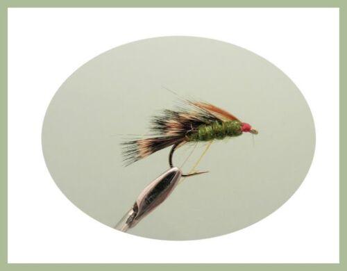 Sedgehog Trout Flies 12 x Black Orange /& Olive Mixed 10//12 Half Hogs