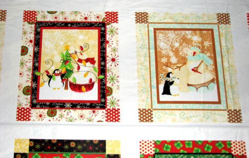 Holiday Dreams Snowmen Penguin It/'s a Wonderful Life Christmas Fabric 1 Yd Panel