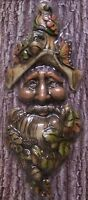 Garden Accent Tree Face Old Man Wall Fence Shed Wood Toned Polyresin 3