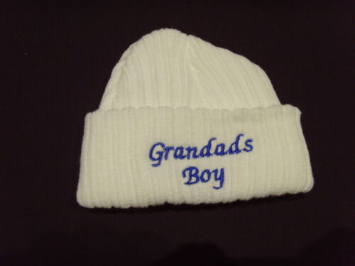 Baby Knitted Wool Embroidered Personalised Hat With Saying Grandad/'s Boy