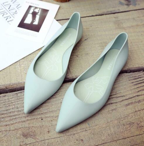 Womens Flat Pointed Toe Casual Jelly Slip On Sandals Rain Shoes Work Pumps New