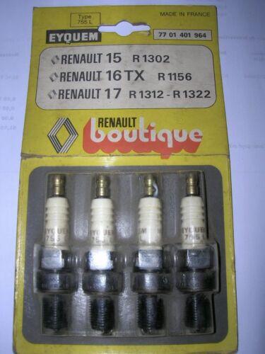 R17 LOT DE 4 BOUGIES EYQUEM NEUF ORIGINE D/'EPOQUE R16 TX RENAULT 15