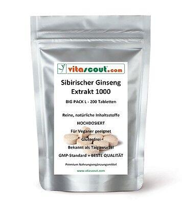 Sibirischer Ginseng Extrakt 200 Tabletten á 1000mg - SB*: Kraft, Energie, Potenz