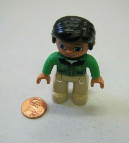 "LEGO DUPLO HORSE RIDER WOMAN LADY 2.5/"" FIGURE Black Hair Green Vest Excellent!"