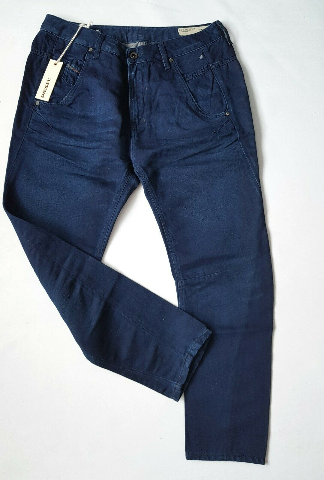 Diesel Fayza tapered cotton- linen trousers navy bluee size 30 32 BNWT RRP