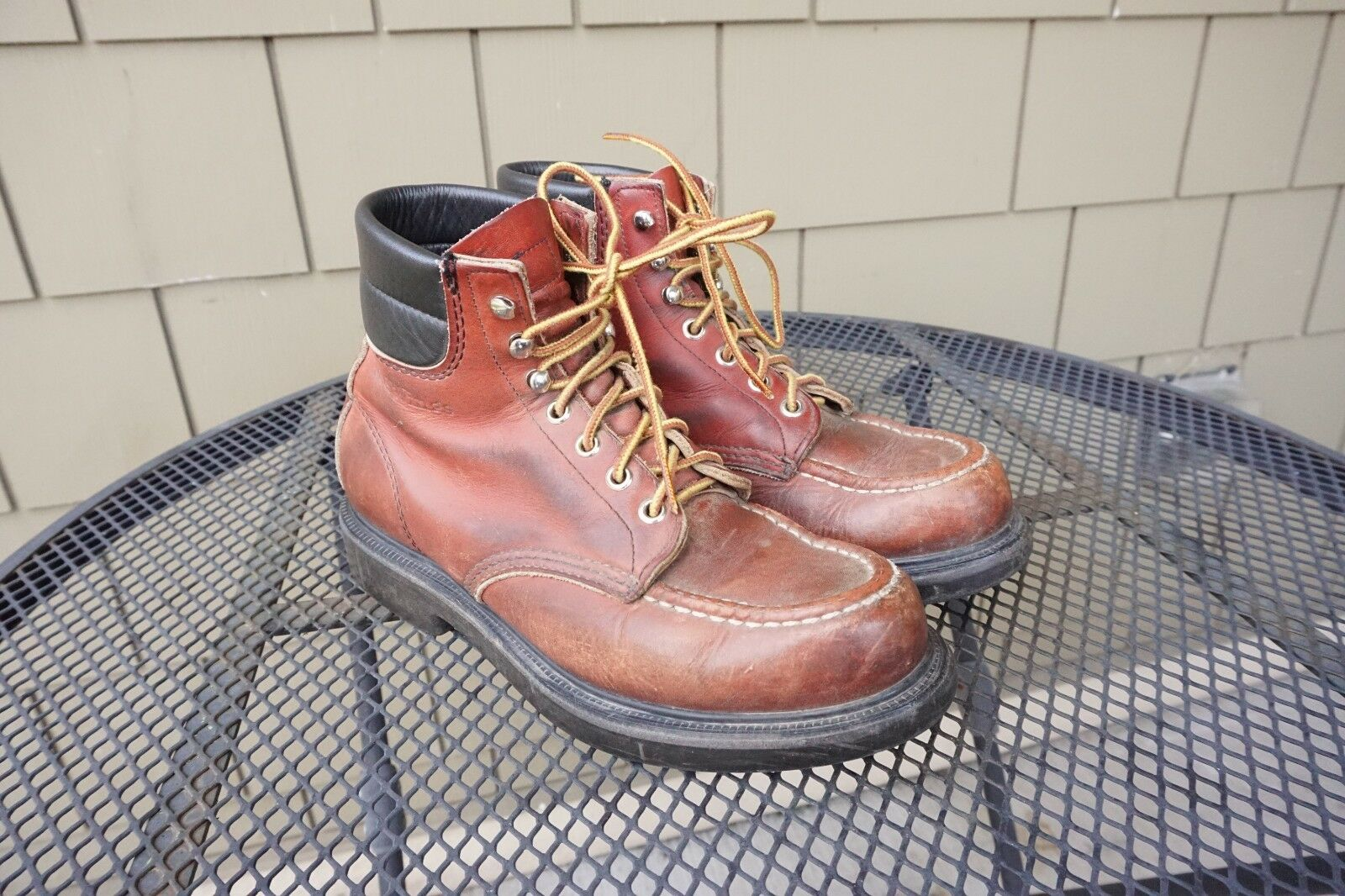 VINTAGE Mens rot Wing Moc Toe Stiefel braun Leather Leather Leather 7 M USA Work Combat Super Sole e79ef1