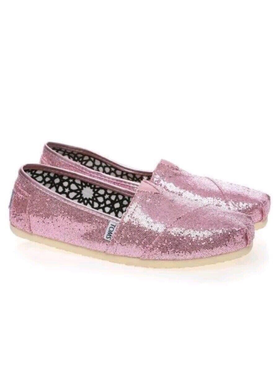 Toms Womens Classic Pink Glitter Flats