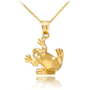 Fine 10k Yellow Gold Lucky Rooster Pendant Necklace