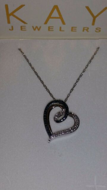 258b10d0a *SEXY* KAY Jewelers Sterling Silver Heart Shaped Blue & White Diamond  Necklace