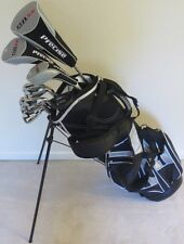 NEW Mens Complete Golf Set Driver Wood Hybrid Irons Putter RH Clubs Stand Bag