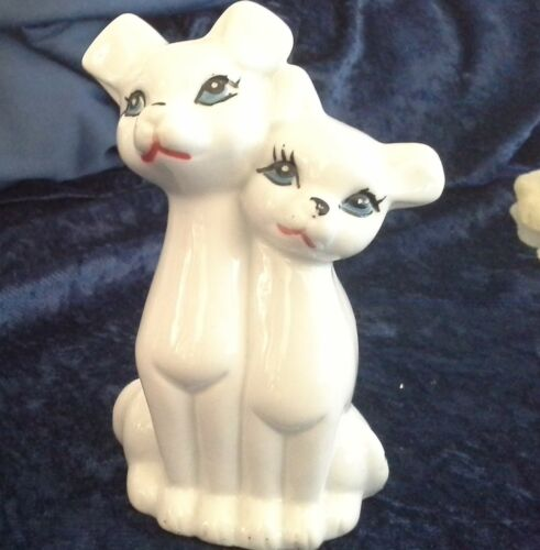 vintage retro dog puppy couple ornament statue ceramic planter vgvc