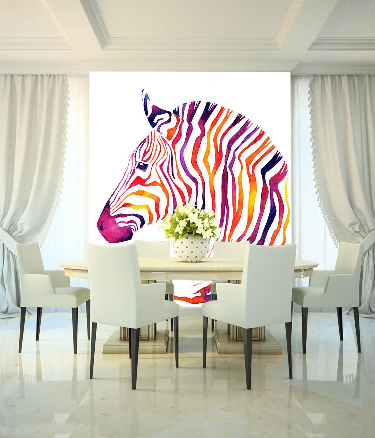 3D Farbe Zebra 84 Wallpaper Mural Paper Wall Print Wallpaper Murals UK Lemon