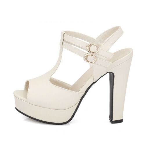 Womens Platform Chunky High Heel T-Strap Open Toe Buckle Party Gladiator Sandals