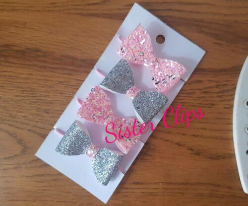 Girls Handmade 4 baby//toddler small pink sequin silver Glitter Hair Bow bobbles