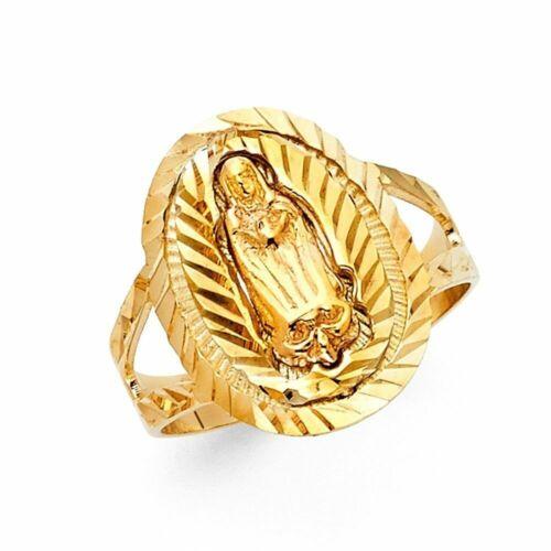 14k Solid Yellow Gold Nuestra Senora de Guadalupe Ring Oro Solido Virgen Anillo