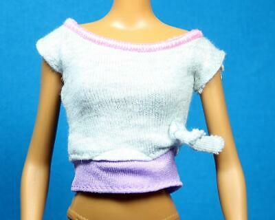 TOP ~BARBIE DOLL MADE TO MOVE BMR1959 YELLOW LOGO FISHNET MESH SLEEVE CROP SHIRT