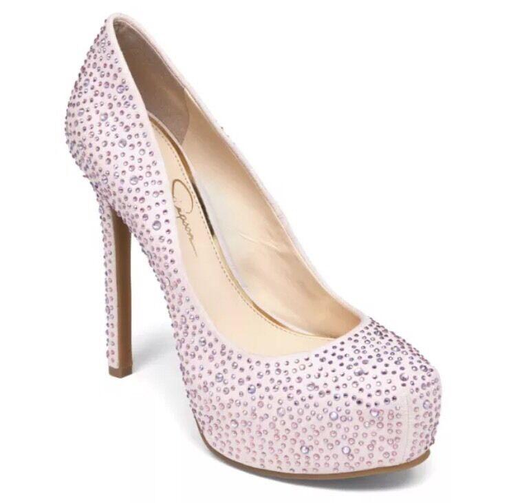 Jessica Simpson 9.5 Rebeca 2 Powder Pink Micro Suede Rhinestones Platform Pumps
