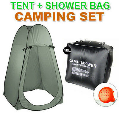 40L Portable Solar Heating Shower Bag + Large Pop Up Tent Camping Shelter