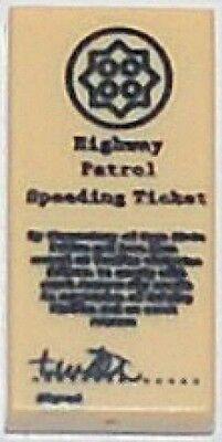 LEGO x 5 Tan Tile 1 x 2 with Highway Patrol Speeding Ticket Pattern police cop