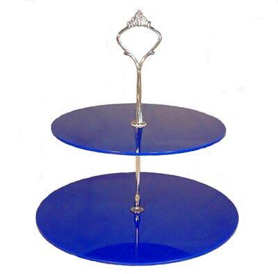 Affidabile Grande 2 Mensole Blu 3mm Cerchio Acrilico Supporto Per Torta 25 Cm, 30 Cm, Altezza 24cm-