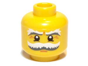 Minifig Head Male Black Eyebrows w// Crow/'s Feet Wrinkles /& White Pupils LEGO