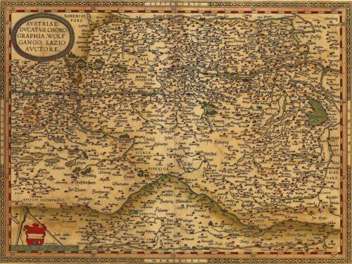 ART PRINT POSTER MAP OLD AUSTRIA VINTAGE RIVER DANUBE ORNATE COMPASSES LFMP0836