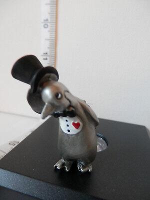 Hudson Pewter Penguin Gentleman Top Hat /& Floral Bouquet #3435 valentine