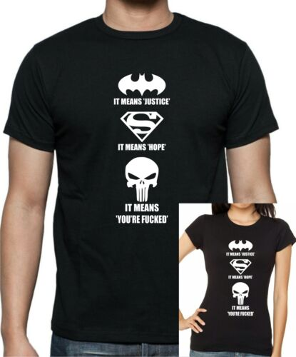 Marvels PUNISHER Offensive /'It means you/'re f*@#ed  T-shirt ..up to 5XL.