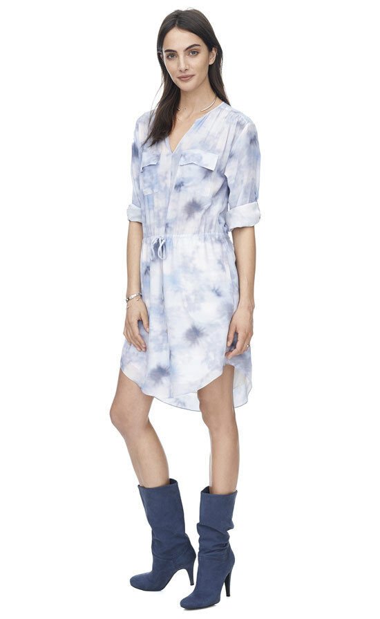 NWT Rebecca Taylor Floral Haze bluee sky Drawstring Longsleeve Longsleeve Longsleeve ShirtDress Dress 4 40d2e8