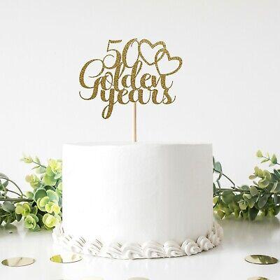 50th golden wedding anniversary glitter card cake topper