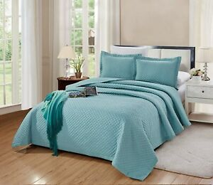 3-PC-CAL-King-Size-Naples-Quilt-Solid-SPA-Blue-Bedspread-Microfiber-Coverlet