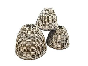 Rattan-Basket-Lampshades-Cafe-Ceiling-Home-Bedroom-Lamp-Grey-Retro-3-Sizes
