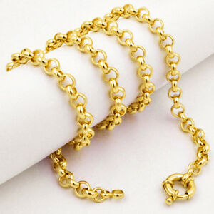 6mm-Fashion-Mens-Womens-Necklace-18K-Yellow-Gold-Filled-Rolo-Link-ChainC10YN