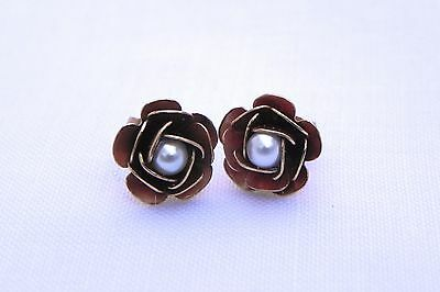 Gold Plated Copper Flower Post Earrings Glass Pearl Made in Italy