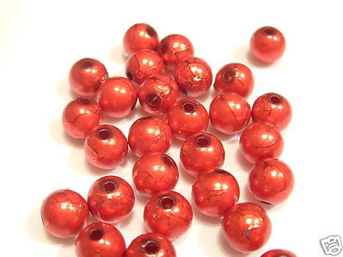 #24 Red 6mm Round 85 x Acrylic Spectra Beads