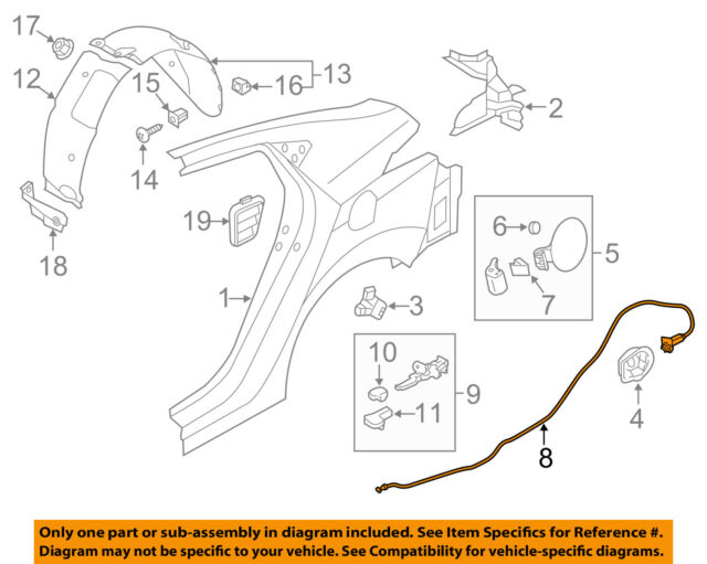 Genuine Hyundai 81280-3X000 Trunk Lid Release Cable Assembly