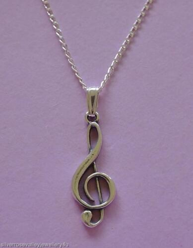New Treble Clef Music Song Pendant /& Chain Necklace Solid Sterling Silver 925