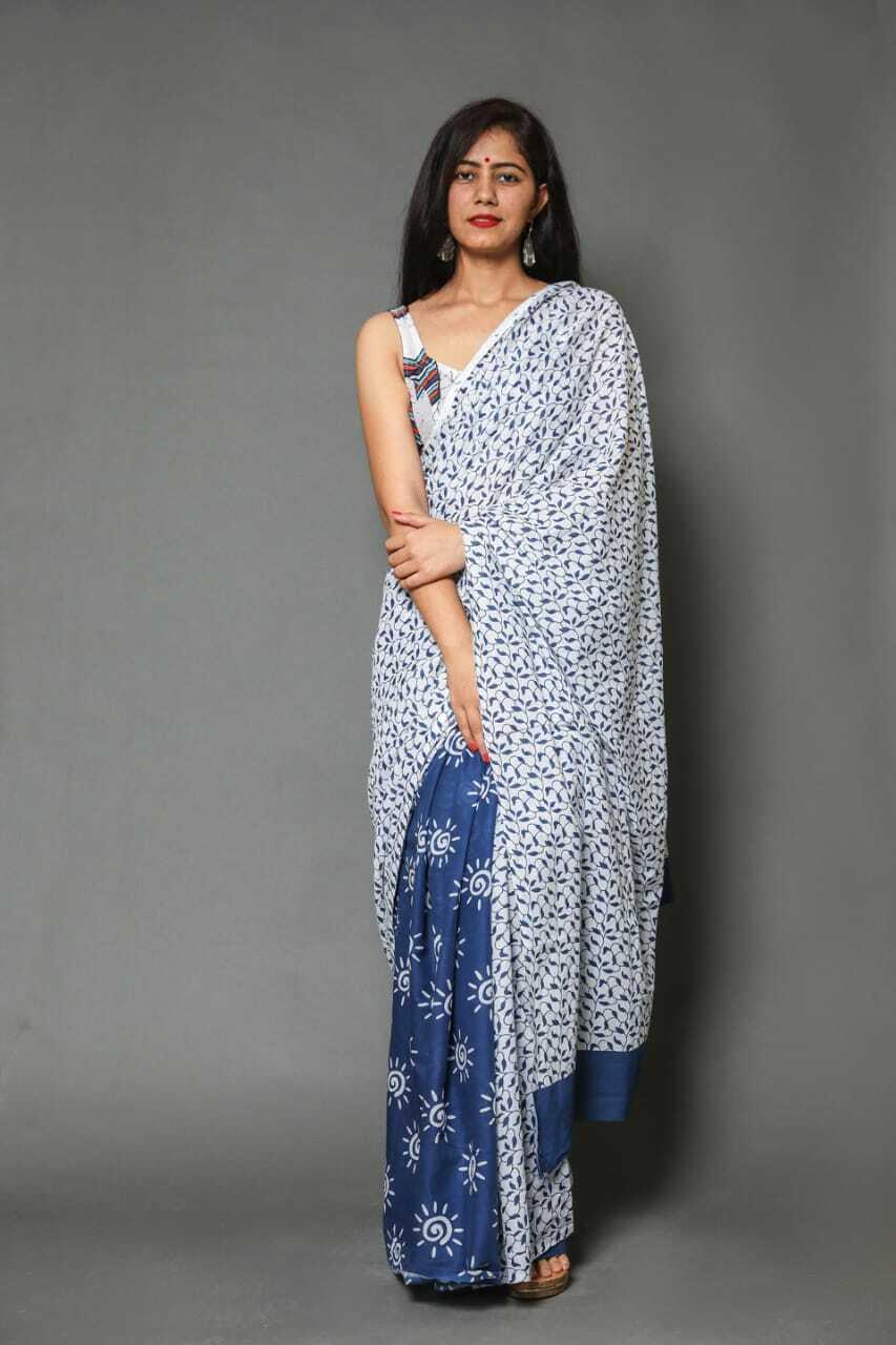 Sari For Women HandMade Beautiful Design White Blue Printed Cotton Saree &Blouse