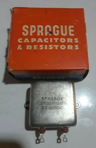 New old stock Sprague CP53B1EF205K1 600V Paper in Oil Bathtub Capacitor 600WVDC