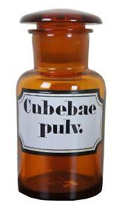 Antique-Cubebae-Pulv-Amber-Glass-Apothecary-Medicine-Bottle-Jar-Pharmacy