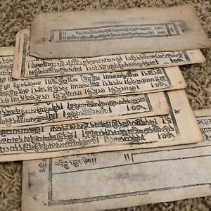 1600-1700-s-Mongolian-Manuscript-Pages-Woodblock-Printed-Authentic-Asian-6-Leafs