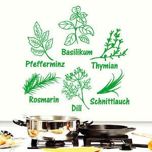 11027 Wandtattoo Schriftzug Abbildung Kräuter Gewürze Kochen Küche ...