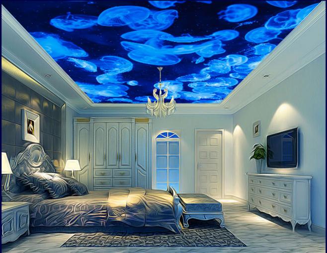 3D Blau Jellyfish 73 Ceiling Wall Paper Print Wall Indoor Wall Murals CA Carly
