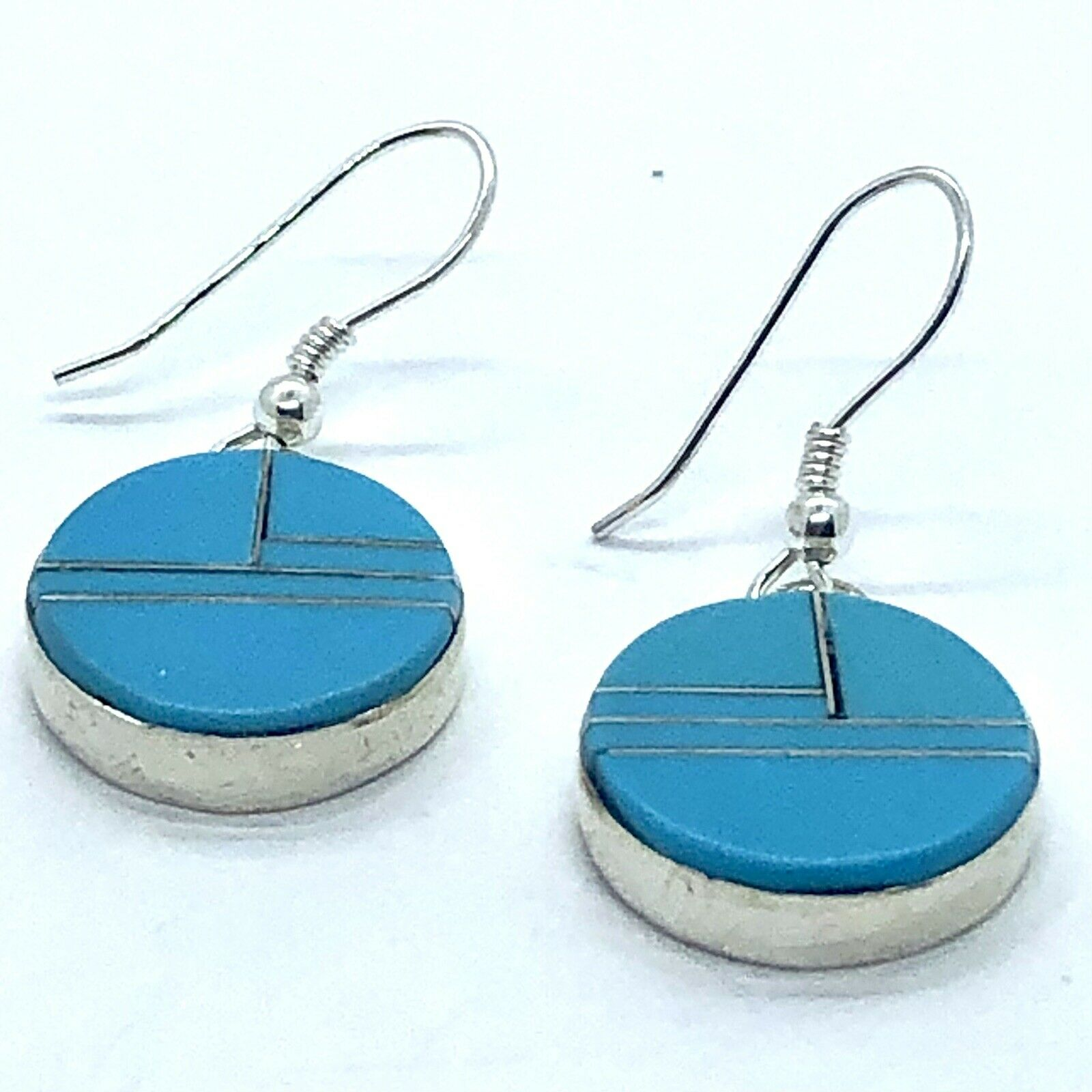 Round Zuni Turquoise Earrings Hook Inlay Sterling… - image 3