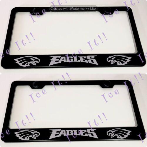 2X EAGLES NFL Philadelphia Stainless Steel Black License Plate Frame Rust Free