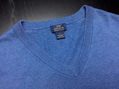 BROOKS BROTHERS Mens L Blue Long Sleeve Supima V-Neck Pullover Sweater