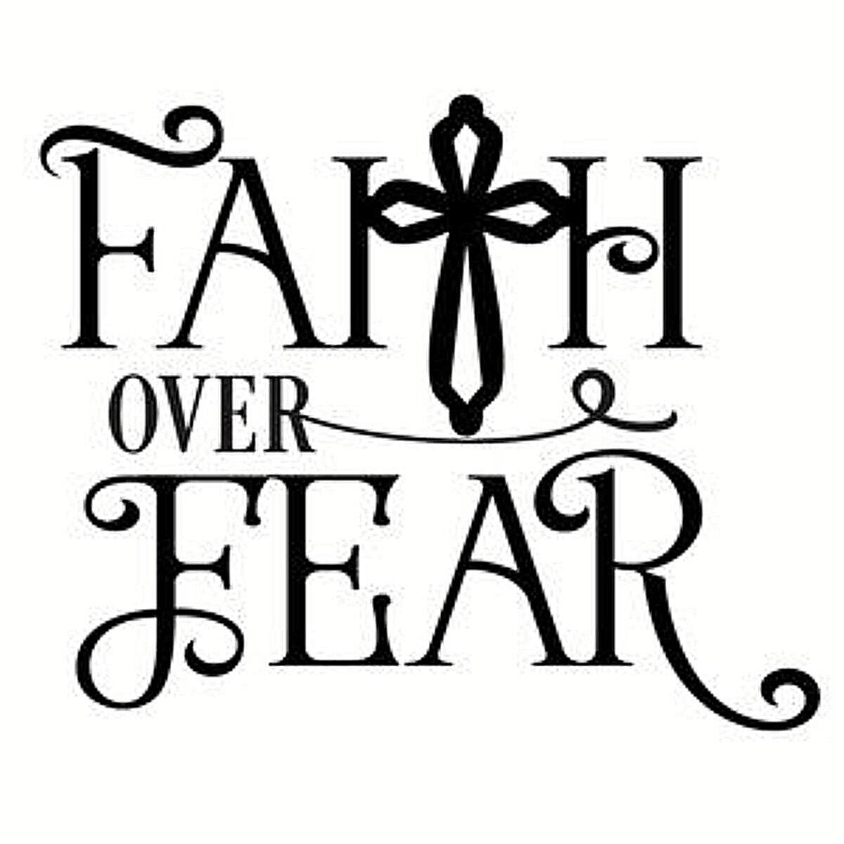 Faith Over Fear Quote Wall Decal Sticker Bedroom Home Room Art Vinyl Inspirational Motivational Teen Decor Decoration Religious God Blessed