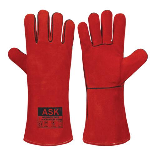 1-10 Pairs Welding Gloves Cow Leather Long Welders Gauntlet High Temperature