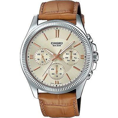 Casio MTP-1375L-9 Original Analog Leather Mens Watch Water Resistant MTP-1375L
